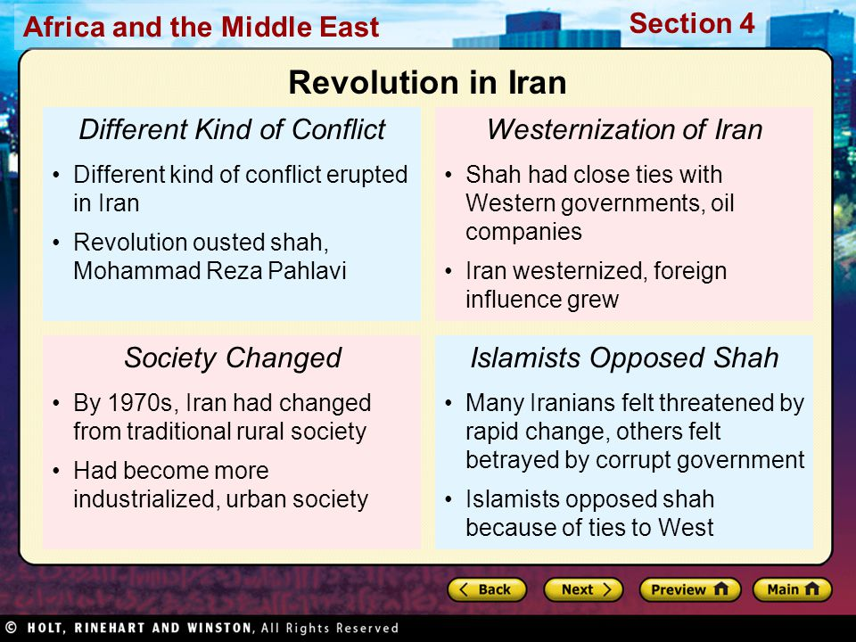 Africa and the Middle East Section 4 Different Kind of Conflict Different kind of conflict erupted in Iran Revolution ousted shah, Mohammad Reza Pahla