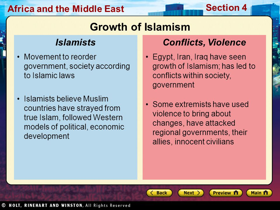 Africa and the Middle East Section 4 Egypt, Iran, Iraq have seen growth of Islamism; has led to conflicts within society, government Some extremists h
