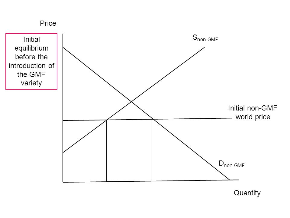 D non-GMF Initial non-GMF world price S non-GMF Price Quantity Initial equilibrium before the introduction of the GMF variety