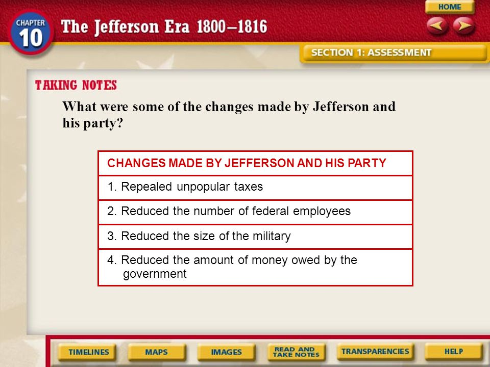 What were some of the changes made by Jefferson and his party.