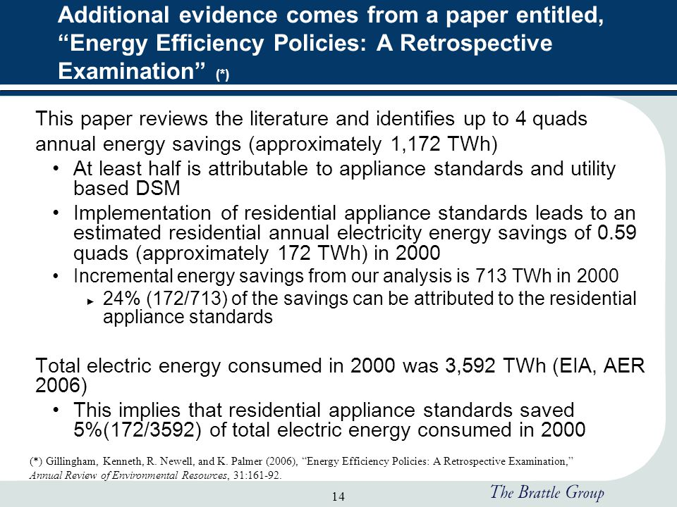 14 Additional evidence comes from a paper entitled, Energy Efficiency Policies: A Retrospective Examination (*) This paper reviews the literature and identifies up to 4 quads annual energy savings (approximately 1,172 TWh) At least half is attributable to appliance standards and utility based DSM Implementation of residential appliance standards leads to an estimated residential annual electricity energy savings of 0.59 quads (approximately 172 TWh) in 2000 Incremental energy savings from our analysis is 713 TWh in 2000 ► 24% (172/713) of the savings can be attributed to the residential appliance standards Total electric energy consumed in 2000 was 3,592 TWh (EIA, AER 2006) This implies that residential appliance standards saved 5%(172/3592) of total electric energy consumed in 2000 (*) Gillingham, Kenneth, R.