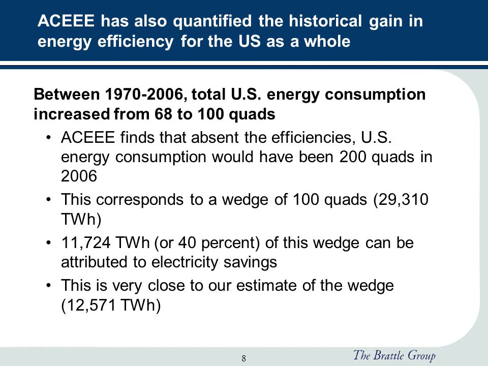 8 ACEEE has also quantified the historical gain in energy efficiency for the US as a whole Between 1970-2006, total U.S.
