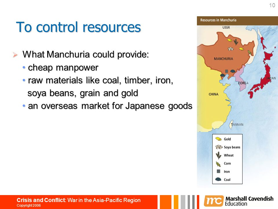 10 Crisis and Conflict: War in the Asia-Pacific Region Copyright 2006  What Manchuria could provide: cheap manpower cheap manpower raw materials like
