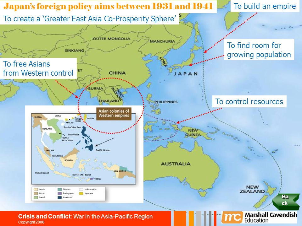 11 Crisis and Conflict: War in the Asia-Pacific Region Copyright 2006 Japan's foreign policy aims between 1931 and 1941 To build an empire To find roo