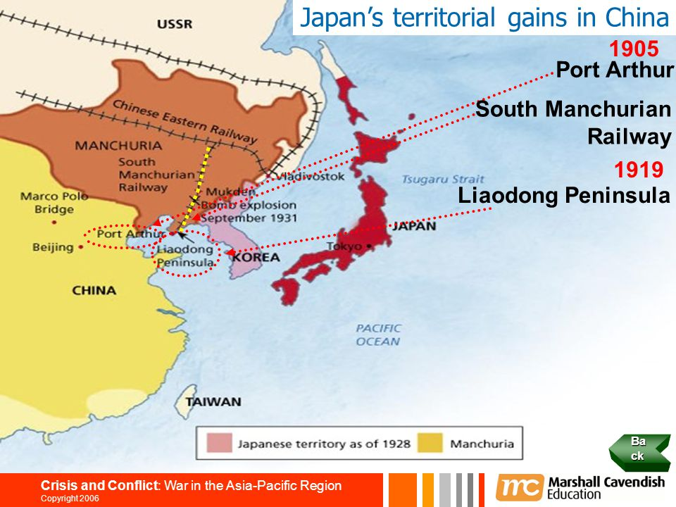 14 Crisis and Conflict: War in the Asia-Pacific Region Copyright 2006 Japan's territorial gains in China 1905 Port Arthur South Manchurian Railway 191
