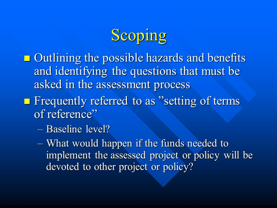 Scoping Outlining the possible hazards and benefits and identifying the questions that must be asked in the assessment process Outlining the possible hazards and benefits and identifying the questions that must be asked in the assessment process Frequently referred to as setting of terms of reference Frequently referred to as setting of terms of reference –Baseline level.