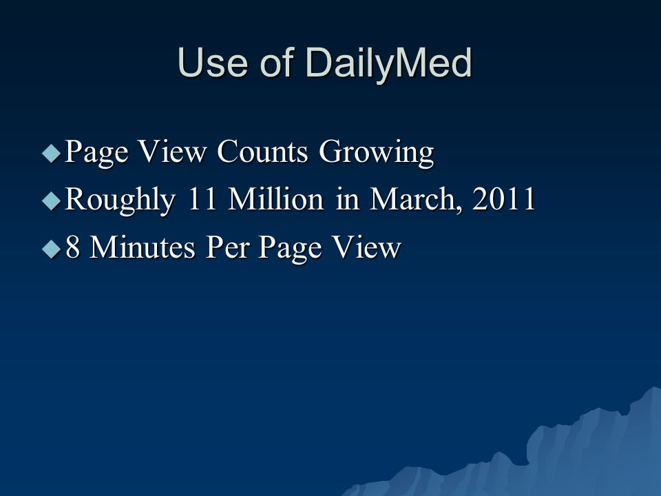 Use of DailyMed  Page View Counts Growing  Roughly 11 Million in March, 2011  8 Minutes Per Page View