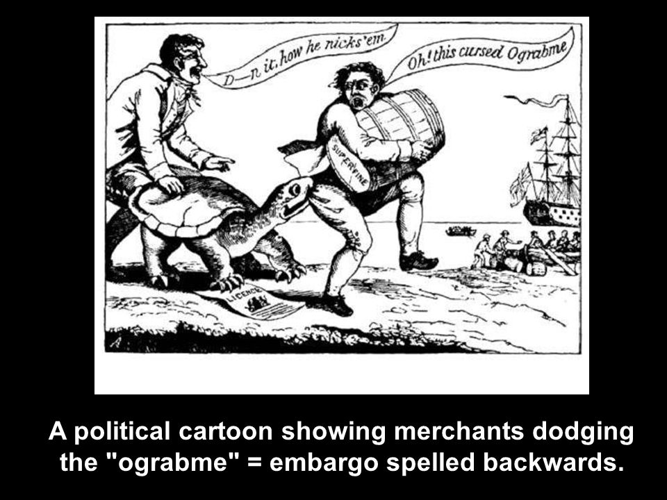 A political cartoon showing merchants dodging the ograbme = embargo spelled backwards.