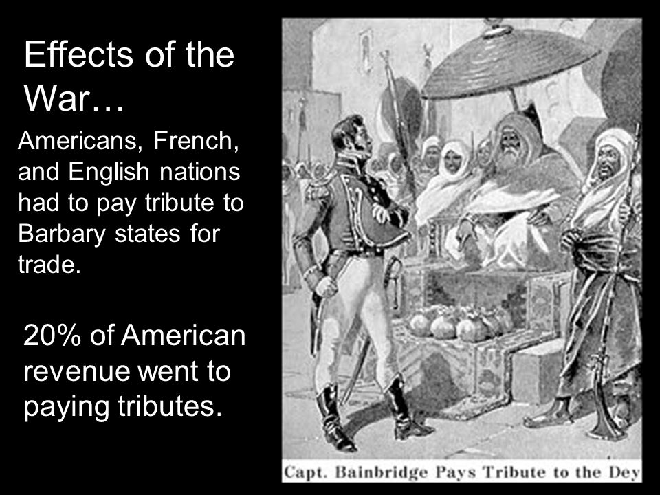 Americans, French, and English nations had to pay tribute to Barbary states for trade.