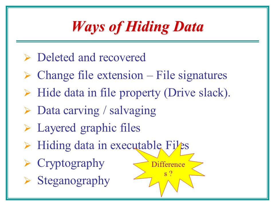 Overview Different Ways of Hiding Data The role of steganography Null ciphers and grammar-based stego Color and sound encoding LSB substitution Exampl