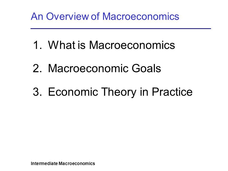 Intermediate Macroeconomics An Overview of Macroeconomics 1.What is Macroeconomics 2.Macroeconomic Goals 3.Economic Theory in Practice