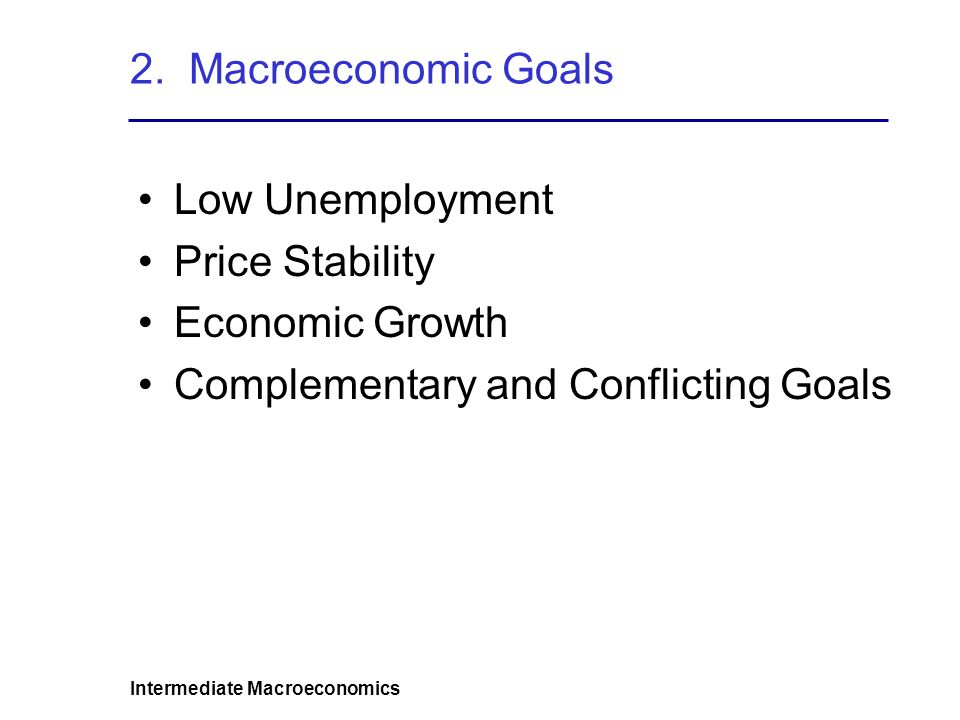 Intermediate Macroeconomics 2. Macroeconomic Goals Low Unemployment Price Stability Economic Growth Complementary and Conflicting Goals