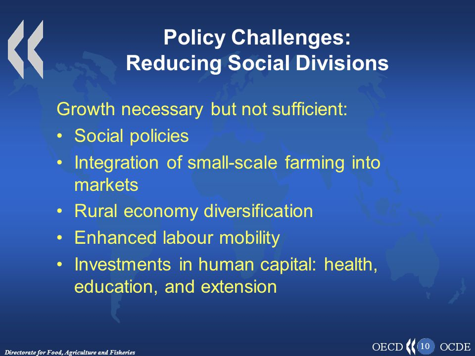 Directorate for Food, Agriculture and Fisheries 10 Policy Challenges: Reducing Social Divisions Growth necessary but not sufficient: Social policies Integration of small-scale farming into markets Rural economy diversification Enhanced labour mobility Investments in human capital: health, education, and extension