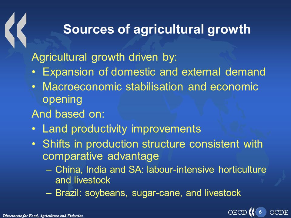 Directorate for Food, Agriculture and Fisheries 6 Sources of agricultural growth Agricultural growth driven by: Expansion of domestic and external demand Macroeconomic stabilisation and economic opening And based on: Land productivity improvements Shifts in production structure consistent with comparative advantage –China, India and SA: labour-intensive horticulture and livestock –Brazil: soybeans, sugar-cane, and livestock