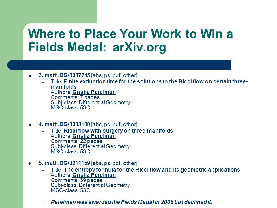 Where to Place Your Work to Win a Fields Medal: arXiv.org 3.