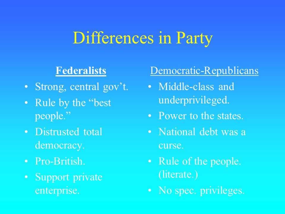 Differences in Party Federalists Strong, central gov't.