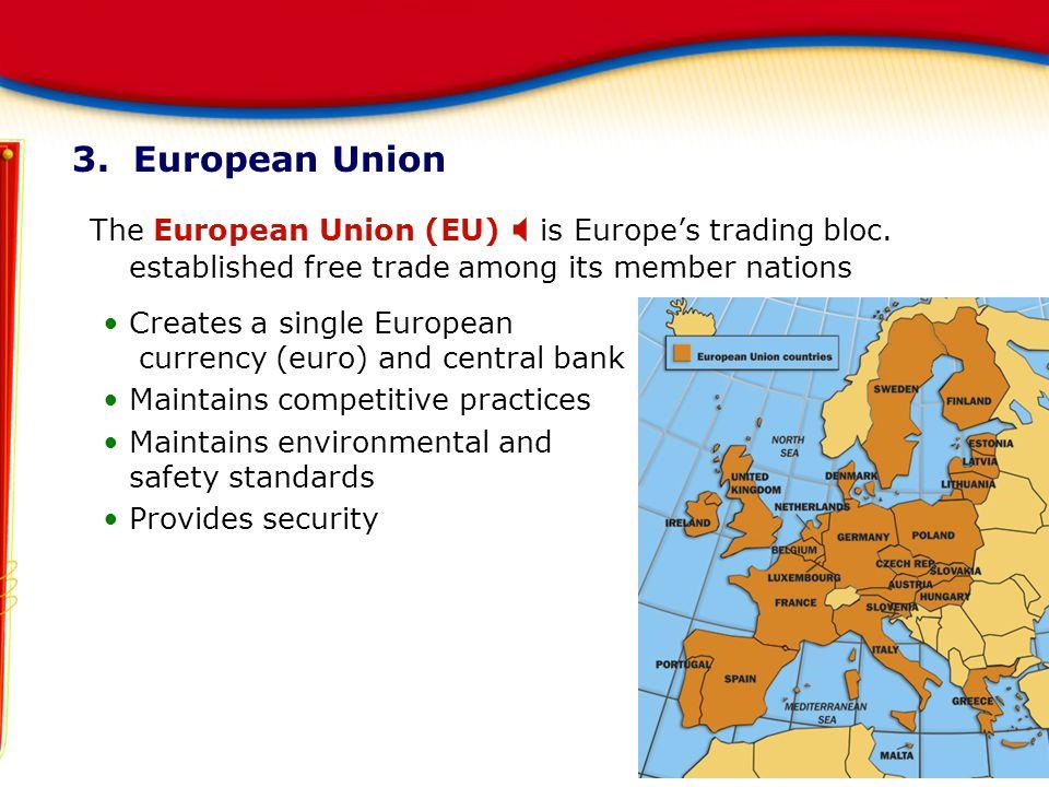 3. European Union The European Union (EU)  is Europe's trading bloc. established free trade among its member nations Creates a single European curren