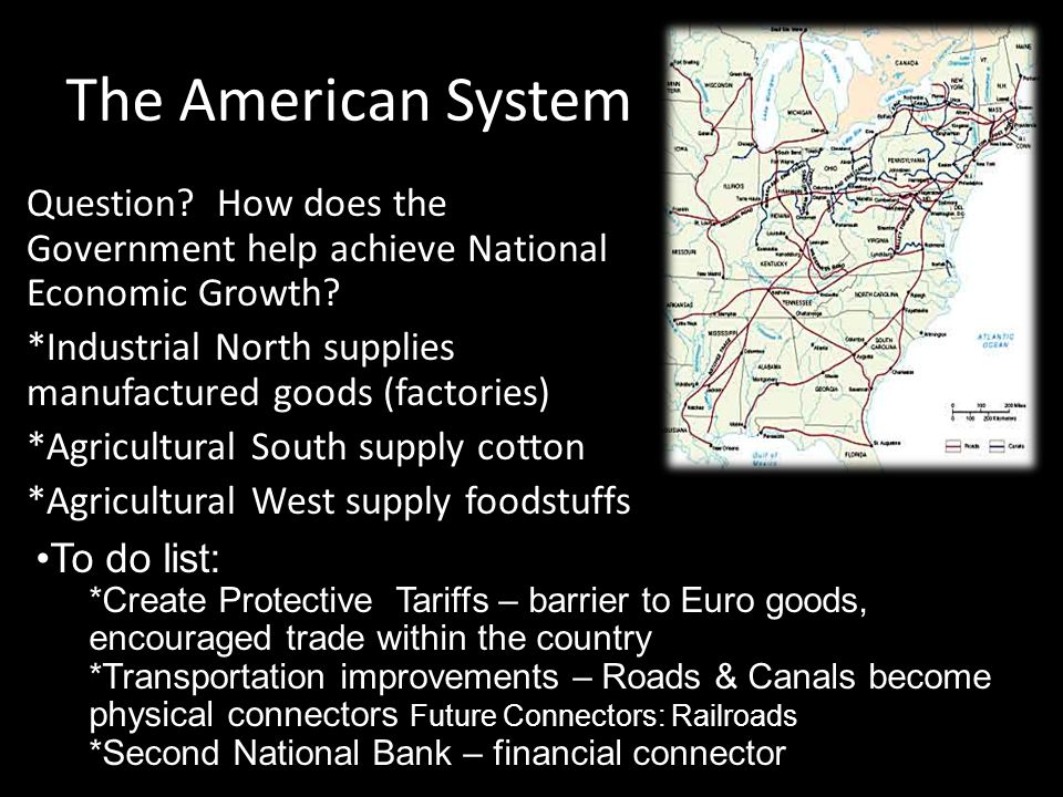 The American System Question? How does the Government help achieve National Economic Growth? *Industrial North supplies manufactured goods (factories)