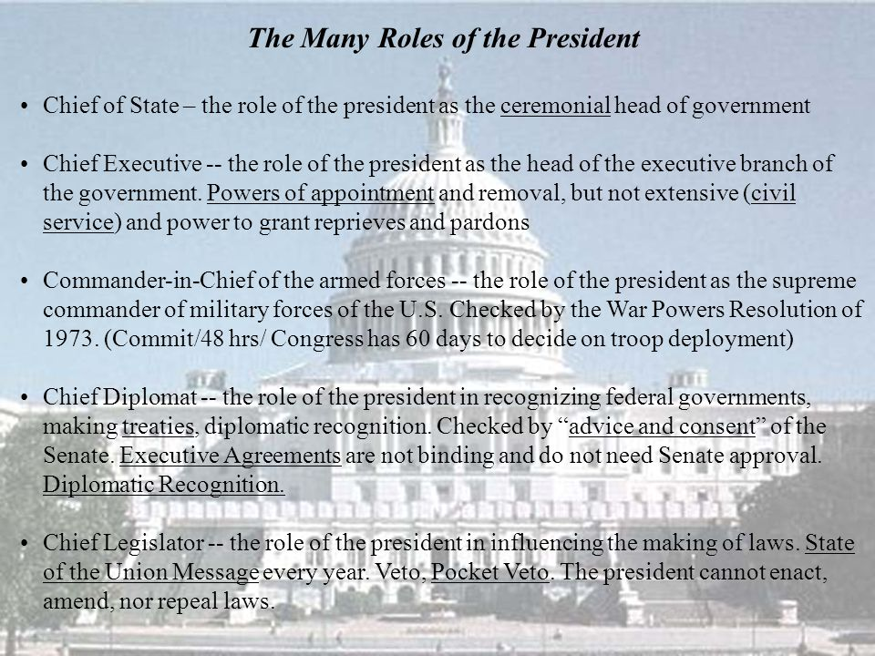 The Many Roles of the President Chief of State – the role of the president as the ceremonial head of government Chief Executive -- the role of the pre