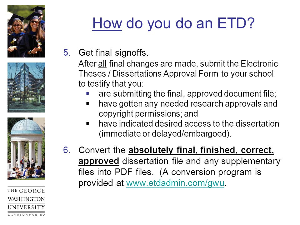 How do you do an ETD.7.Check the pdf file carefully.