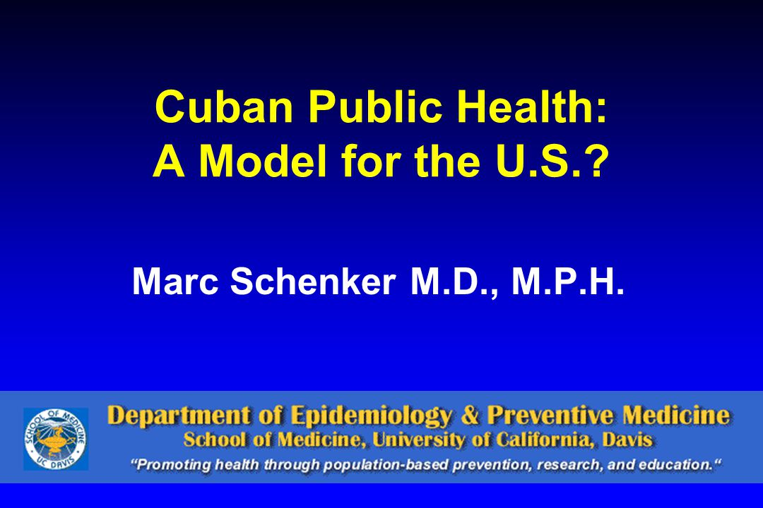 Outline Vital statistics Health system performance Recent history and organization of Cuban health care Public health organization –Examples Lessons for the U.S.?