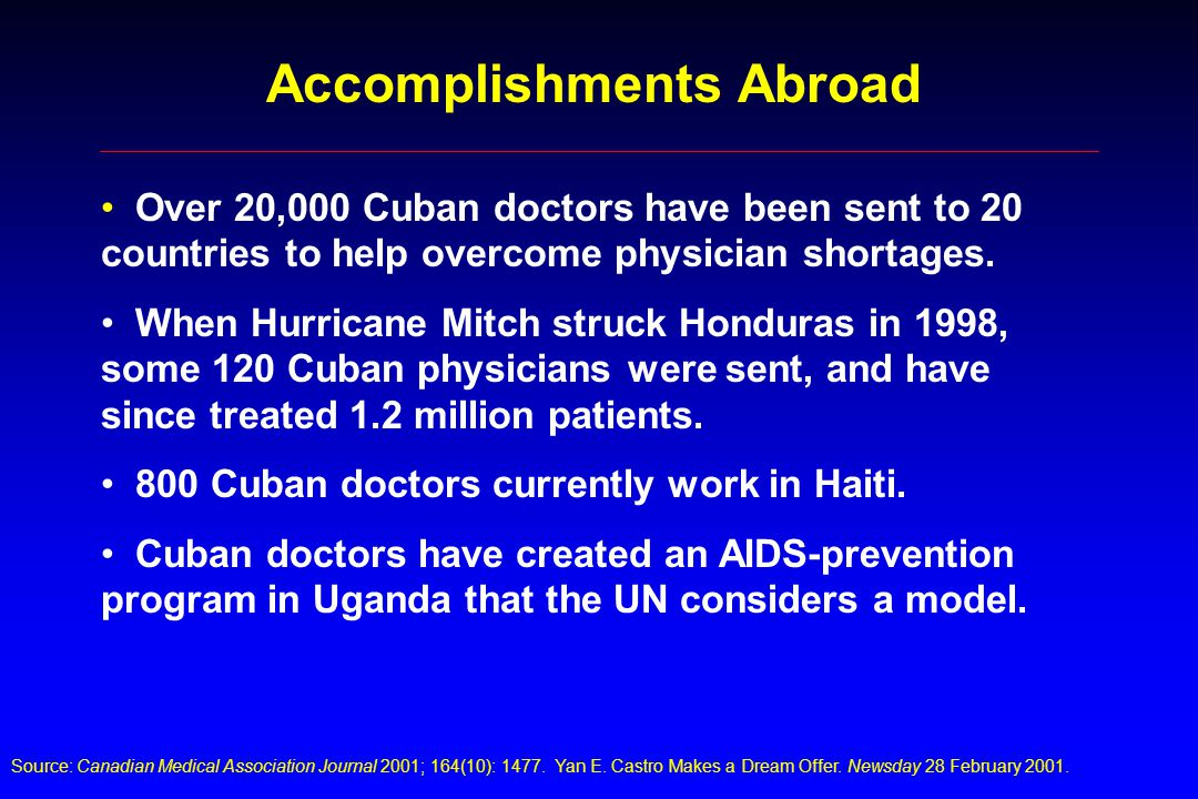 Over 20,000 Cuban doctors have been sent to 20 countries to help overcome physician shortages.