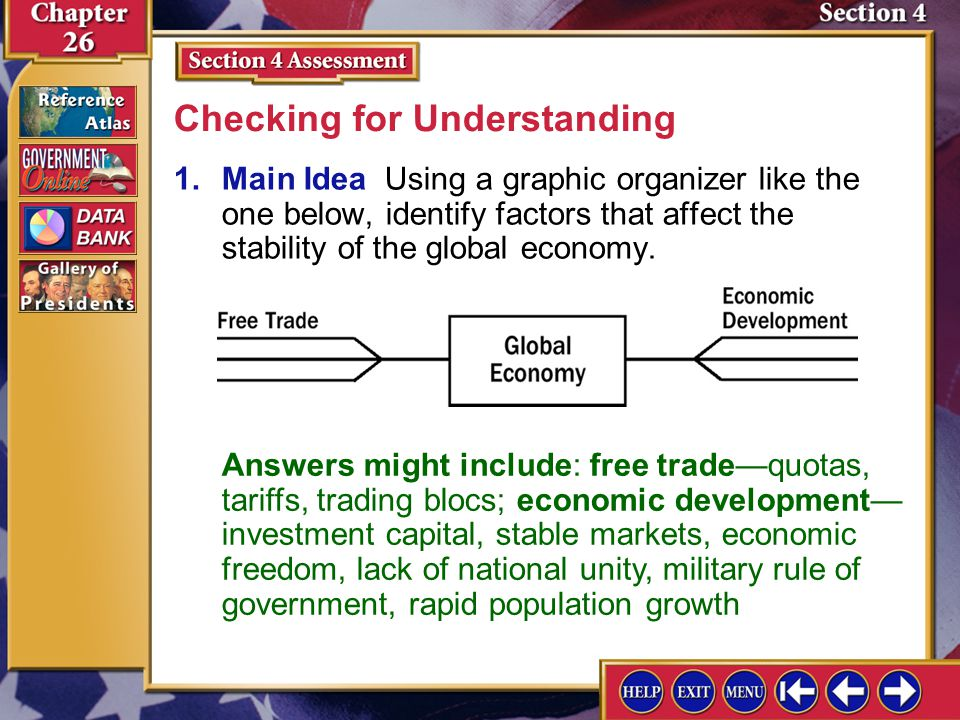 Section 4 Assessment-1 1.Main Idea Using a graphic organizer like the one below, identify factors that affect the stability of the global economy. Che