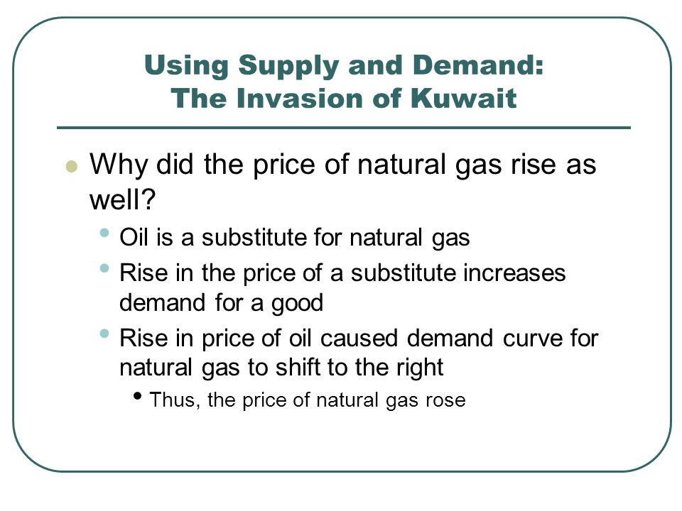 Using Supply and Demand: The Invasion of Kuwait Why did the price of natural gas rise as well.