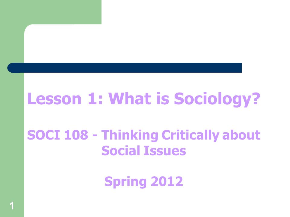 1 Lesson 1: What is Sociology SOCI 108 - Thinking Critically about Social Issues Spring 2012