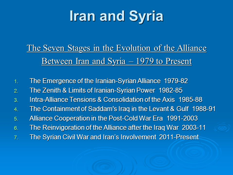 Iran and Syria The Seven Stages in the Evolution of the Alliance Between Iran and Syria – 1979 to Present 1.