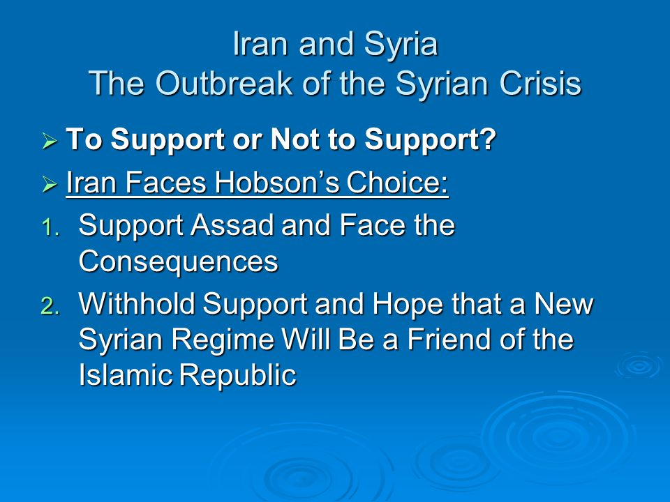 Iran and Syria The Outbreak of the Syrian Crisis  To Support or Not to Support.