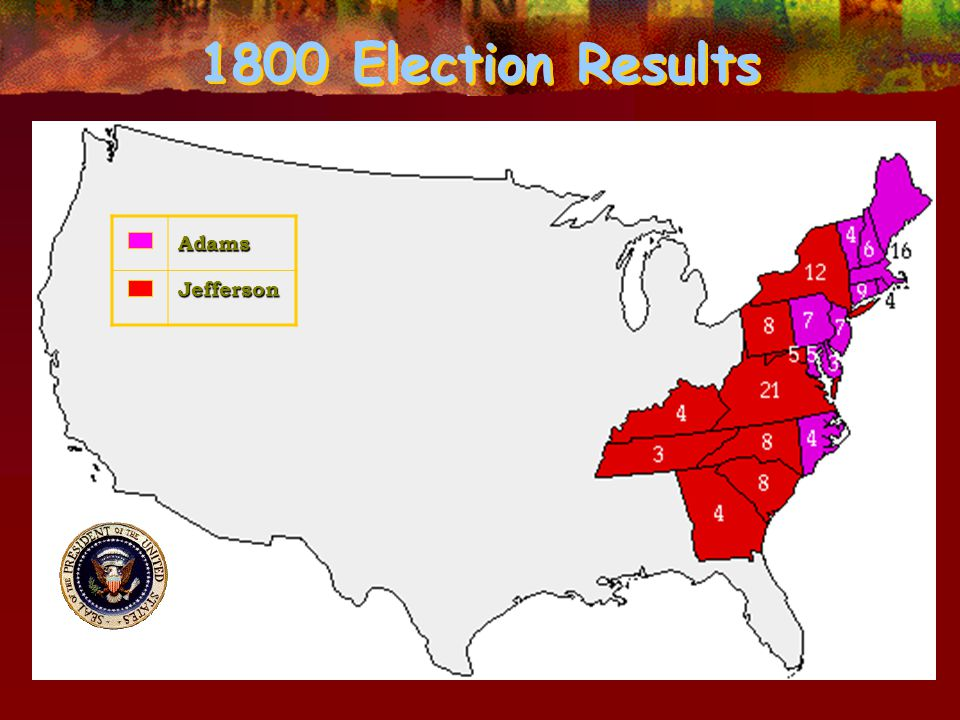 1800 Election Results AdamsJefferson