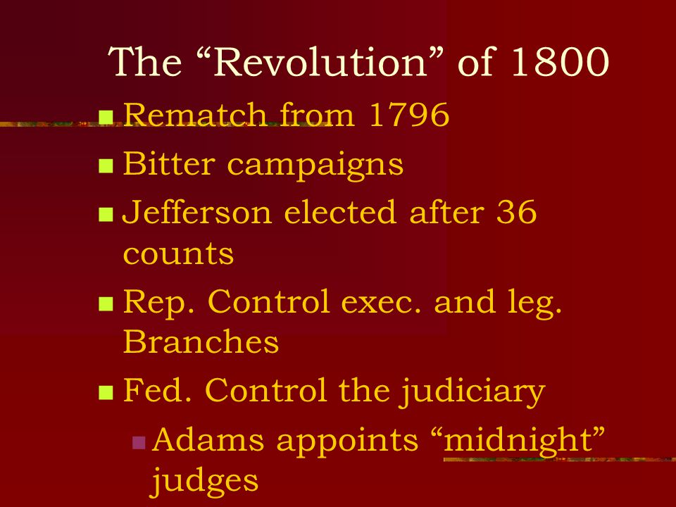 The Revolution of 1800 Rematch from 1796 Bitter campaigns Jefferson elected after 36 counts Rep.
