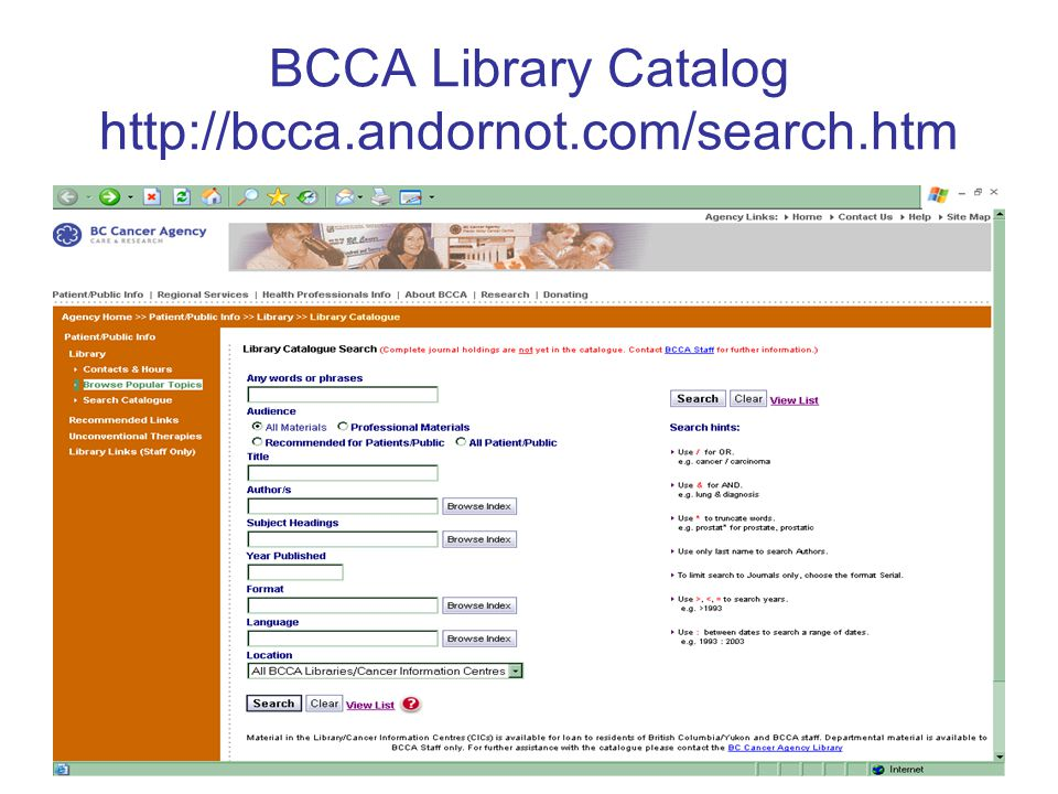 BCCA Library Catalog http://bcca.andornot.com/search.htm