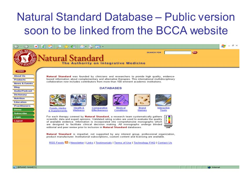 Natural Standard Database – Public version soon to be linked from the BCCA website