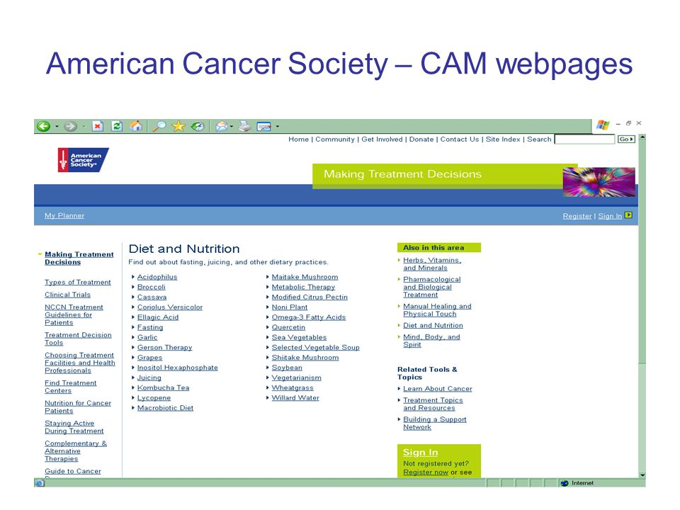 American Cancer Society – CAM webpages