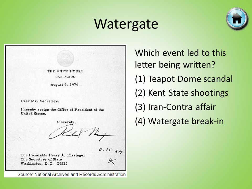 Which event led to this letter being written? (1) Teapot Dome scandal (2) Kent State shootings (3) Iran-Contra affair (4) Watergate break-in