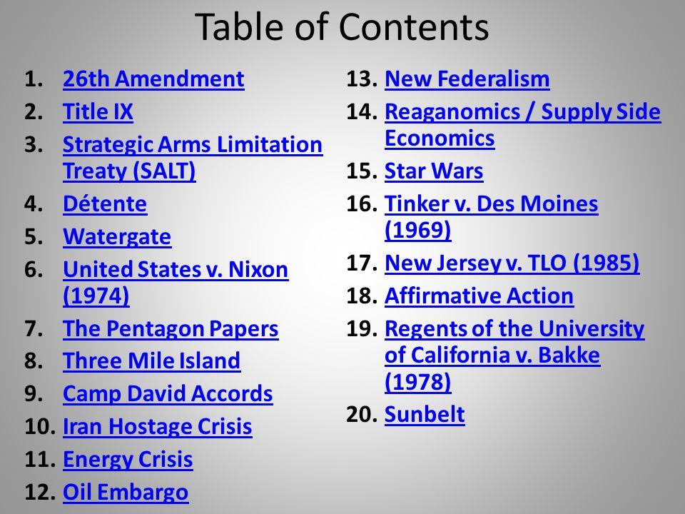Table of Contents 1.26th Amendment26th Amendment 2.Title IXTitle IX 3.Strategic Arms Limitation Treaty (SALT)Strategic Arms Limitation Treaty (SALT) 4