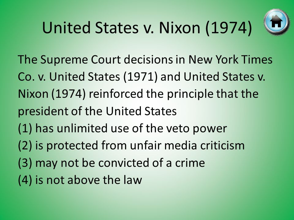 United States v.Nixon (1974) The Supreme Court decisions in New York Times Co.