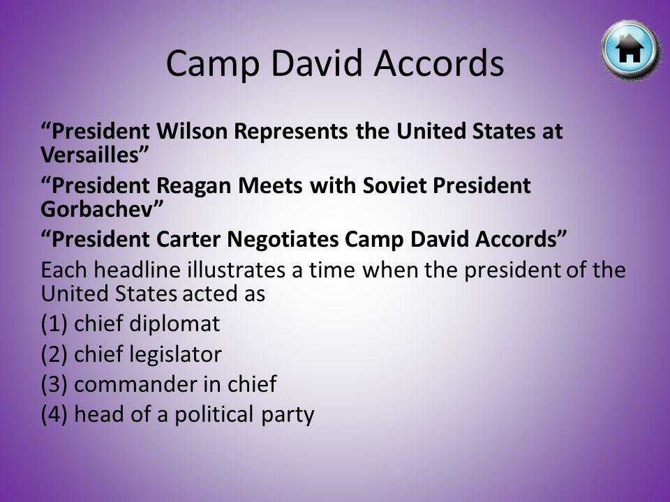 """President Wilson Represents the United States at Versailles"" ""President Reagan Meets with Soviet President Gorbachev"" ""President Carter Negotiates Ca"