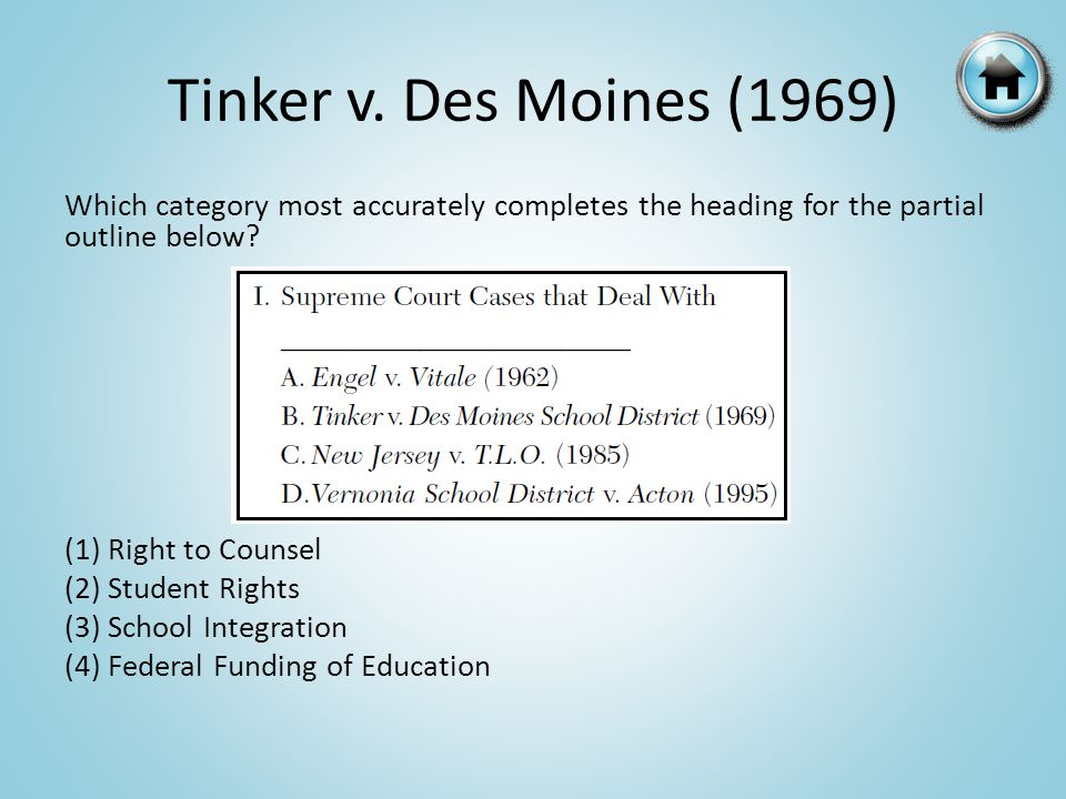 Tinker v. Des Moines (1969) Which category most accurately completes the heading for the partial outline below? (1) Right to Counsel (2) Student Right