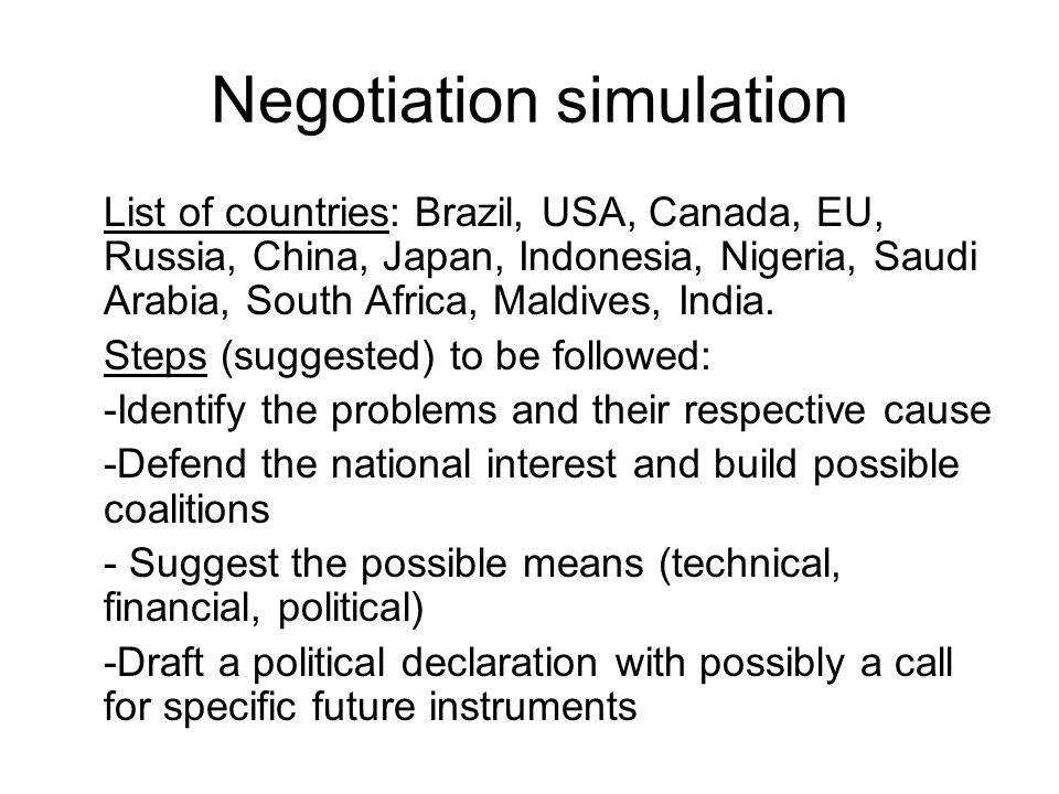 Negotiation simulation List of countries: Brazil, USA, Canada, EU, Russia, China, Japan, Indonesia, Nigeria, Saudi Arabia, South Africa, Maldives, Ind