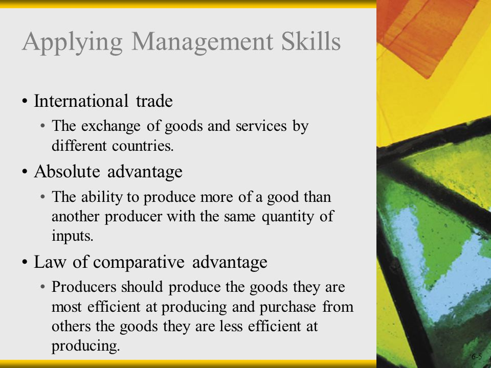 6-6 Exporting Goods and services that are sold abroad.