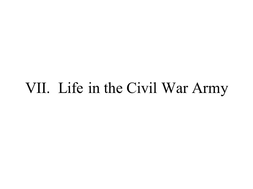 VII. Life in the Civil War Army