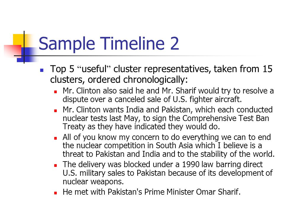 "Sample Timeline 2 Top 5 "" useful "" cluster representatives, taken from 15 clusters, ordered chronologically: Mr. Clinton also said he and Mr. Sharif w"