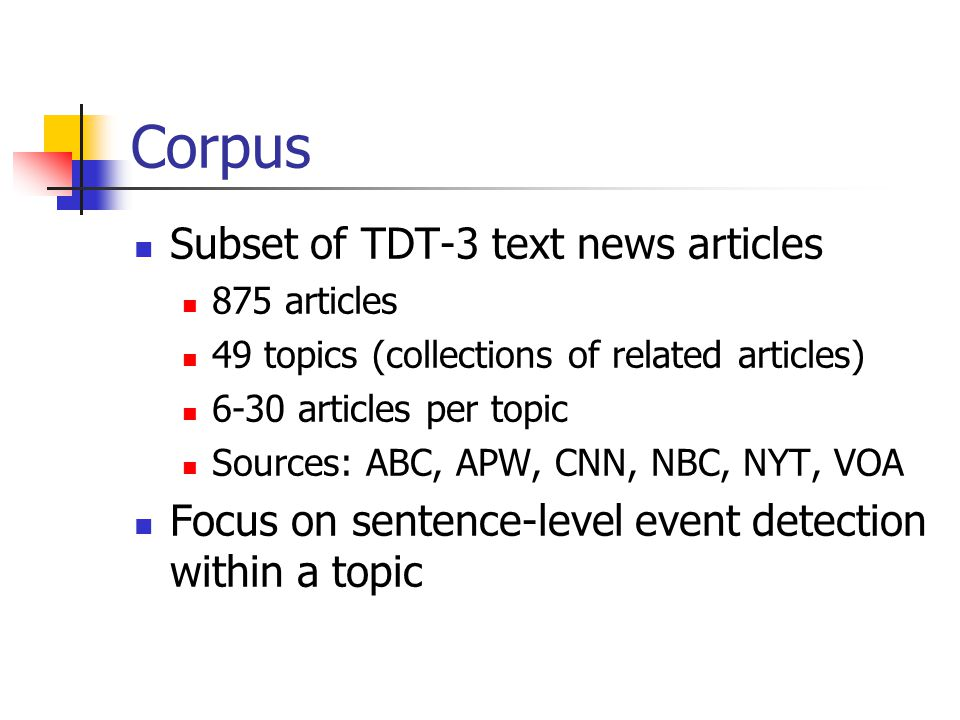 Corpus Subset of TDT-3 text news articles 875 articles 49 topics (collections of related articles) 6-30 articles per topic Sources: ABC, APW, CNN, NBC, NYT, VOA Focus on sentence-level event detection within a topic