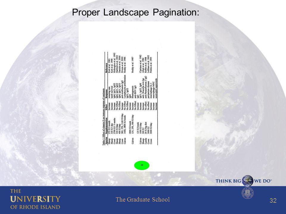 The Graduate School 32 Proper Landscape Pagination: