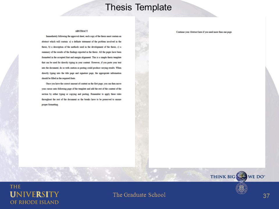 The Graduate School 37 Thesis Template