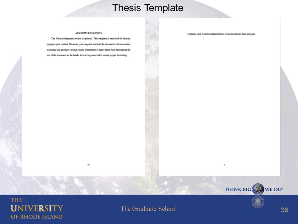 The Graduate School 38 Thesis Template