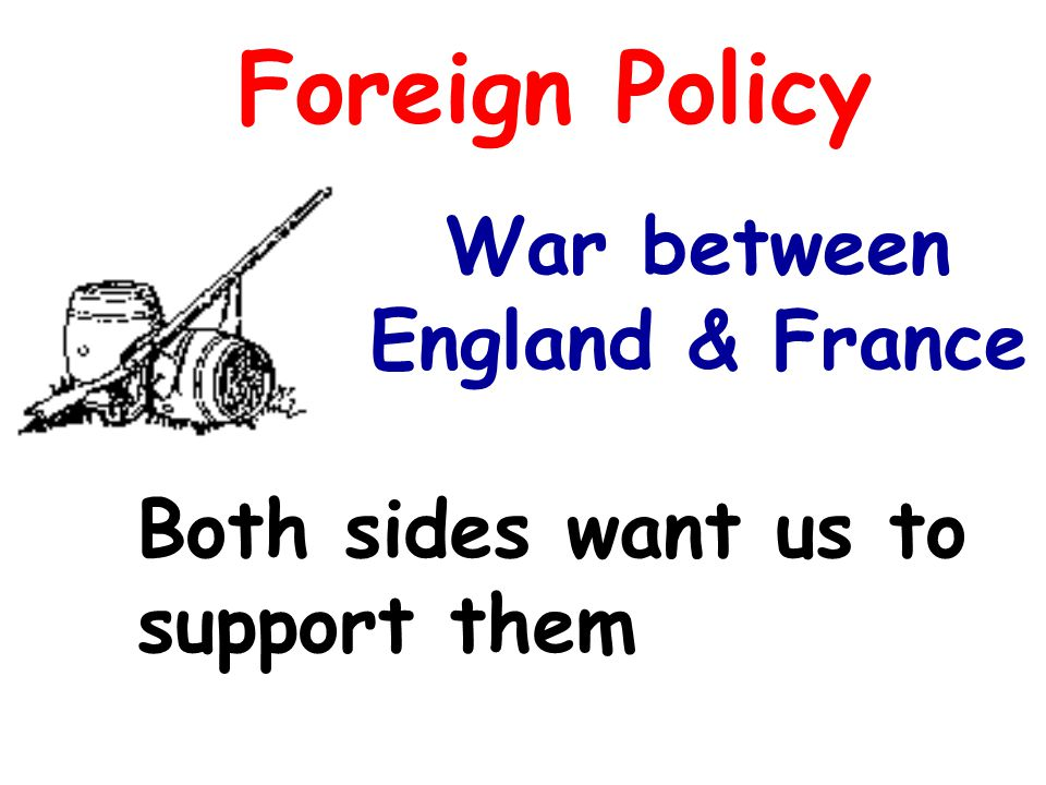 Foreign Policy Both sides want us to support them War between England & France
